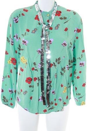 Custommade Langarm-Bluse türkis Blumenmuster Casual-Look