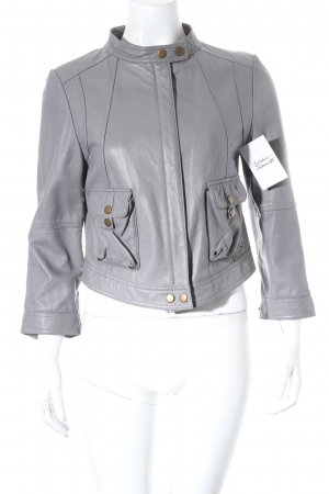 Custommade Lederjacke grau Biker-Look