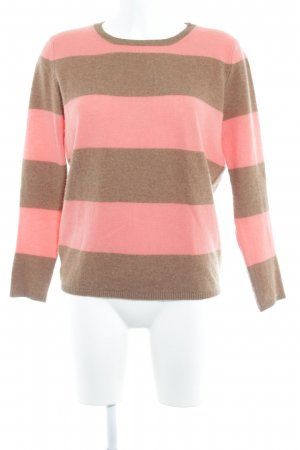Custommade Knitted Sweater light brown-pink striped pattern casual look