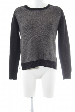 Custommade Knitted Sweater black-silver-colored weave pattern casual look