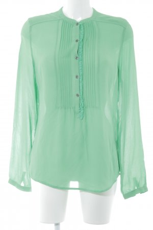 Custommade Transparent Blouse grass green casual look