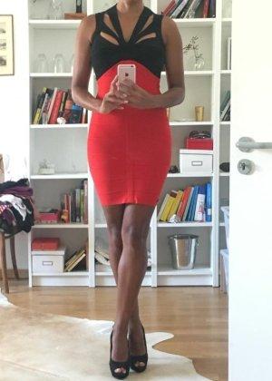 Cut-out Bandage Mini Kleid kurz in schwarz rot Gr. S 36