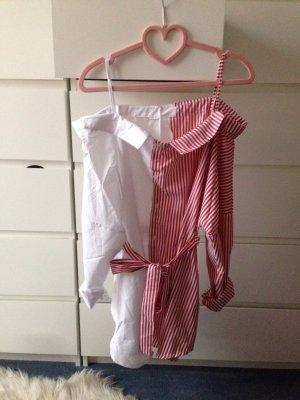 Blusa ancha blanco-rojo oscuro