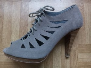 Cut-out Booties/Peeptoes lila/graues Leder von 3Suisses, 2mal getragen!