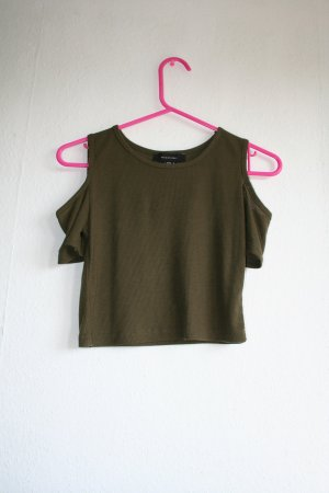 Cut out crop top in khaki