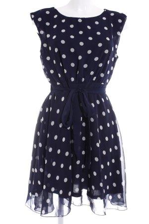 Cut-Out-Kleid dunkelblau-hellbeige Punktemuster Casual-Look