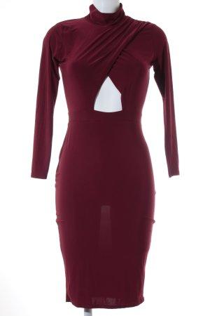 Cut out jurk karmijn-donkerrood zakelijke stijl