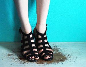 cut out riemchen sandalen vintage wildleder schwarz 39 / KTC shoes