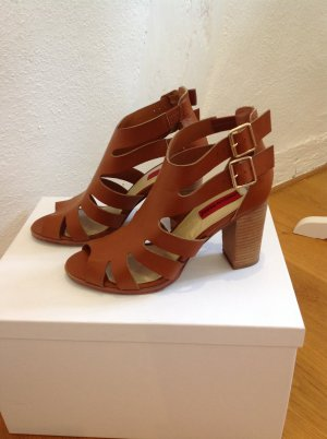 London Rebel High-Heeled Sandals cognac-coloured-gold-colored