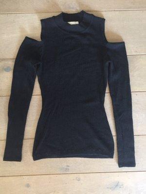 H&M Geribd shirt zwart