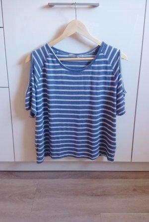 Cut-out Shirt gestreift blau/weiß Gr. 36