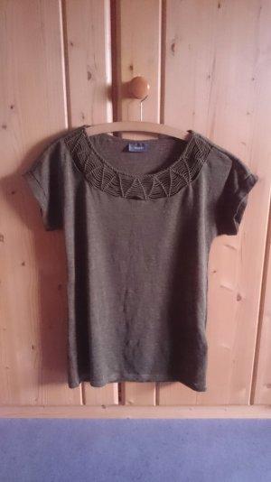 Cut out Shirt khaki oliv grün 34 36 XS S