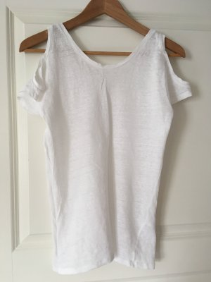 Cut-Out-Shirt Leinen von Sandro Gr 38 weiß