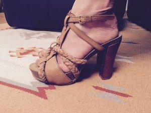 Plateauzool sandalen zandig bruin Leer