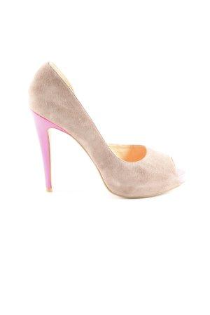 Cute Couture Tacones con punta abierta beige-rosa neón estilo extravagante