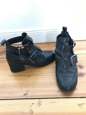 Office Cut Out Booties black leather