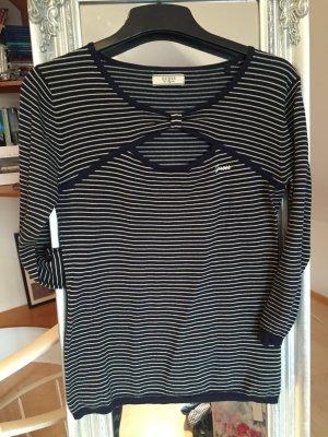 Cutout Shirt dunkelblau und beige gestreift von Guess