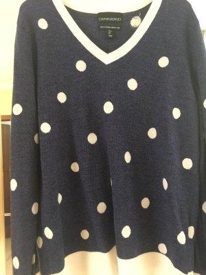 Cynthia Rowley V-Neck Sweater dark blue-white merino wool