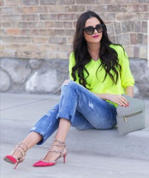 Cynthia Rowley sommer Pullover Merino Wolle Blogger neon