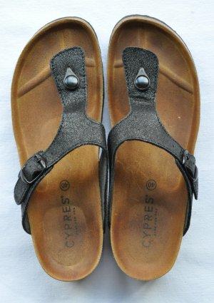 Cypres Sandalo toe-post nero-argento Finta pelle