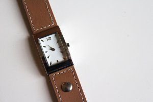 Cyrillus Watch With Leather Strap light brown leather