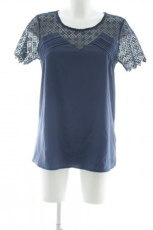 Cyrillus Short Sleeved Blouse dark blue business style