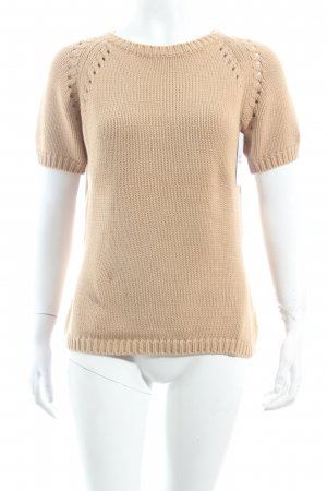 Cyrillus Short Sleeve Sweater beige loosely knitted pattern classic style