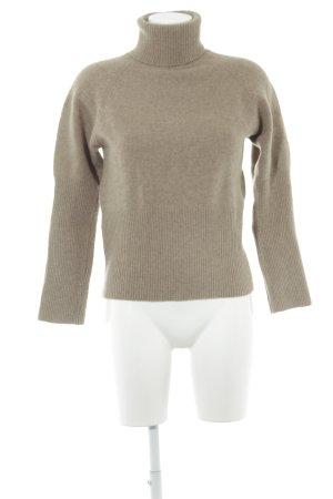 Cyrillus Maglione dolcevita marrone-grigio stile semplice