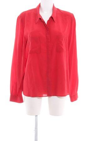 Cyrillus Blusa de seda rojo oscuro estilo «business»