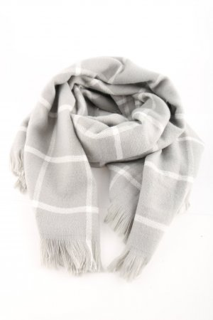 Cyrillus Knitted Scarf light grey-white check pattern casual look