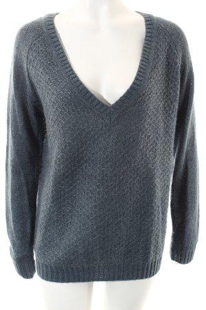 Cyrillus V-Ausschnitt-Pullover graublau Kuschel-Optik