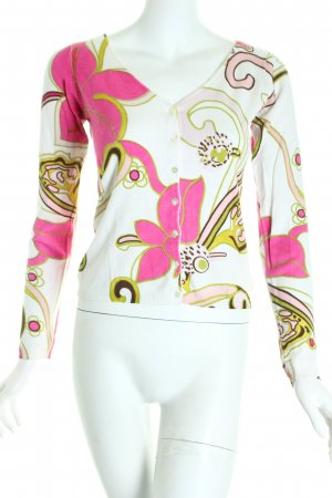 D.C.C. Strick Cardigan pink-hellgrün abstraktes Muster Casual-Look