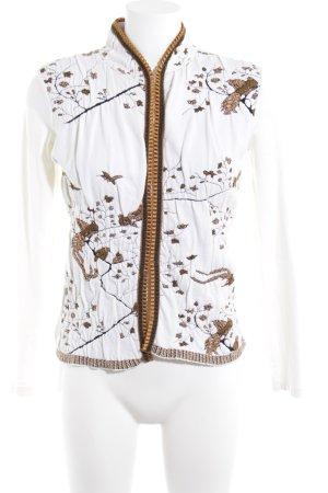 D. Exterior Kurz-Blazer weiß-goldfarben florales Muster klassischer Stil