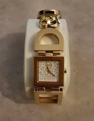 D&G Armbanduhr in Gold mit Swarovski Steinen