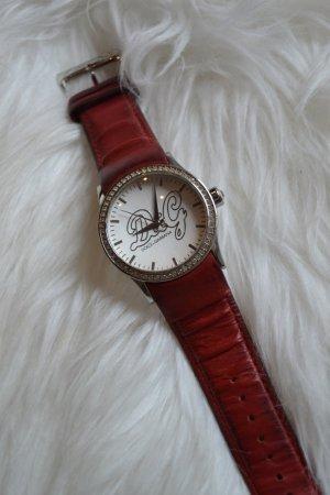 D&G Armbanduhr in rot mit Kristallen