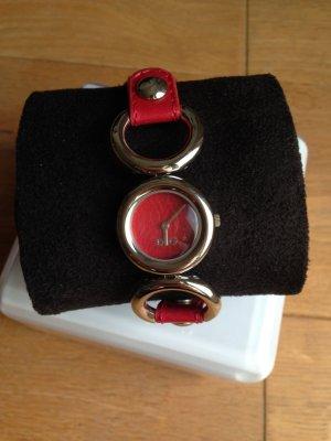 D&G Armbanduhr rotes Lederarmband