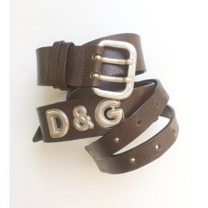 D&G Breiter Gürtel 85 cm Silber und braun breiter Hüftgürtel klassisch Vintage