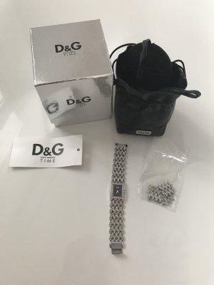 D&G Damenuhr silber mit Strass