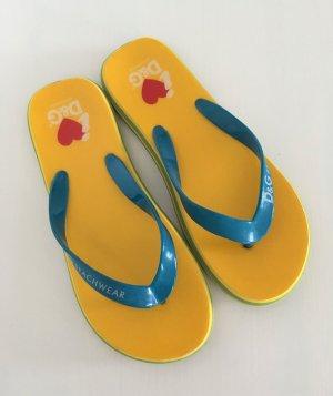 D&G Dolce&Gabbana Beachwear Flip Flops 37/38 Gelb Sandalen Zehentrenner Sommer Strand