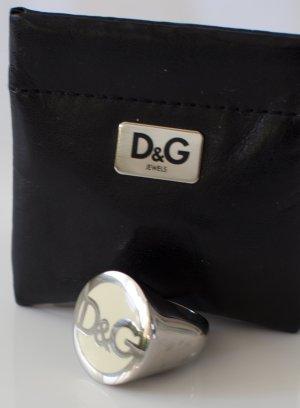 D&G Dolce & Gabbana ~ DAMEN RING 18mm SILBER/CREME ORIGINAL