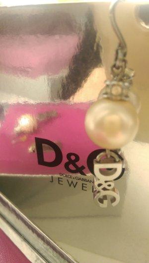 D&G Boucles d'oreilles en perles blanc cassé-blanc bronze