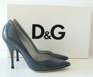 D&G Dolce&Gabbana Pumps Lack Gr. 37 graublau wie neu