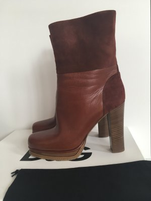 Dolce & Gabbana Platform Booties cognac-coloured leather