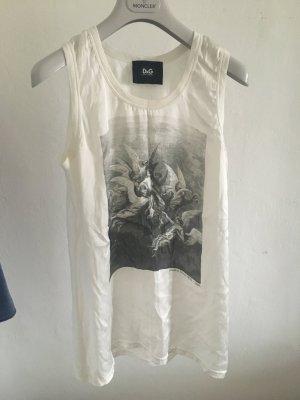 D&G dolce & Gabbana top Shirt weiß Seide 36 42 weiß schwarz Print Baumwolle