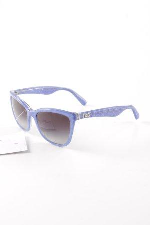 D&G Hoekige zonnebril zilver-staalblauw glitter-achtig