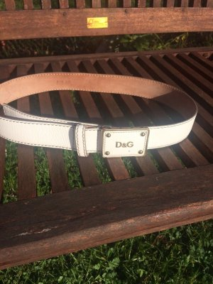 D&G Leather Belt white