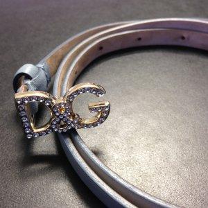 D&G-Gürtel hellblau mit Logo-Schließe