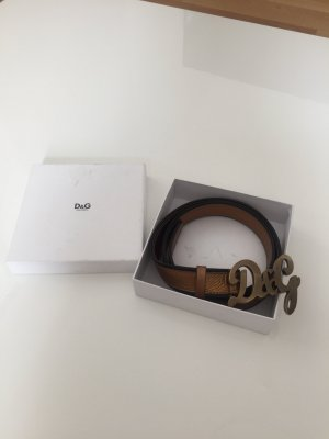 Dolce & Gabbana Leather Belt black-gold-colored