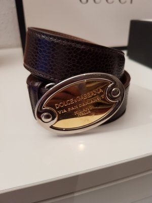 Dolce & Gabbana Leather Belt bronze-colored leather