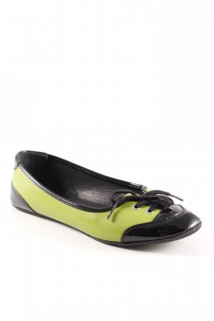 D&G Patent Leather Ballerinas black-meadow green casual look